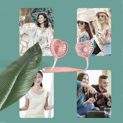 Love Heart Lazy Hanging Neck Fan Portable USB Cooling Air Fa